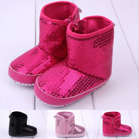 Wholesale Fashion sequins baby boots High warm boots Side zipper boots Soft bottom toddler shoes Leisur baby wear shoes online shop pairs Z