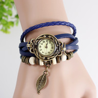 bangle quartz watch - 7 colors Retro Quartz Fashion Weave Wrap Around Leather Bracelet Bangle Womens Tree Leaf pendant Girl Watch
