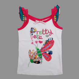 Wholesale N3708 Nova kids summer wear m y baby girls flower embroidery white pink tank tops children clothing vest with embroidery amp bead