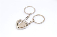 Wholesale Fashion silver arrow couple hearts keychain accessory I Love You lovers alloy keyfob keyring for Valentine Day gift