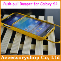 Wholesale Galaxy S4 I9500 Push pull All Metal Aluminium Alloy Bumper Case For Samsung No Screw Luxury Fashion Frame Cover Free DHL Shipping