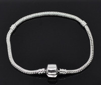 Beaded, Strands South American Unisex 925 Sterling Silver Snake Snap Clasps silver Bracelets Chain Snake Chain Snap Clasp European Charm Bracelets 19cm Length