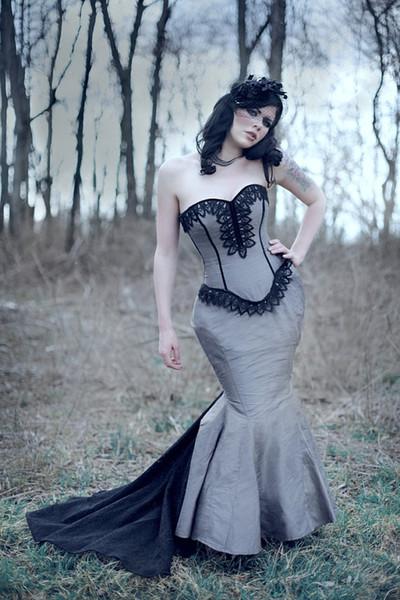 robes victoriennes 2014 millésime mariage Steampunk robe Corset Mermaid dentelle bustier Taille Silhouette A Dark Dance