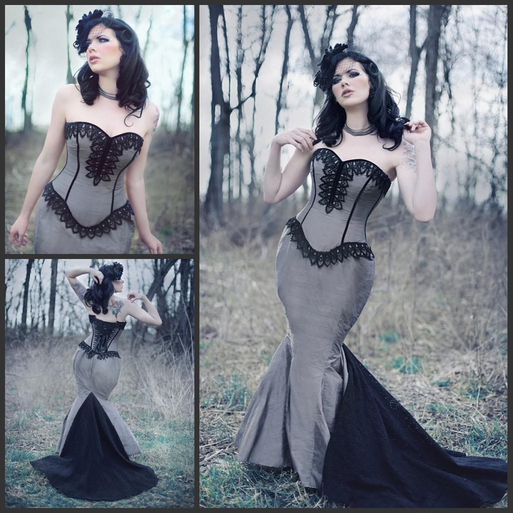 2014 Vintage Steampunk Wedding Gown Corset Mermaid Lace Strapless ...