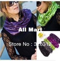 Scarves Yes Solid Wholesale 2013 New Fashion Fall Winter Ring Scarf Women Lady 2-layer shiny Sequins Neck Kerchief Scarf Scarves Shawl Wrap RJ1929