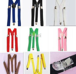 Wholesale HOT SELL Elastic Y back Suspenders Dof black Women Mens Clip on Braces