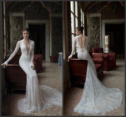 2016 white lace Long Sleeve Lace empire Wedding Dresses With V Neck Open Back Sheath Chapel Train Hot Customed Sexy White Ivory Bridal Gowns