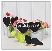 Wholesale 10pcs Mini Heart Blackboard Peg Clip Wooden Chalkboard Clips Gift Cards Wedding Favours