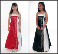 Wholesale 2014 Beautiful Red and White Junior Bridesmaid Dresses Black and White A Line Spaghetti Ankle Length Girl Gowns Bow Embroidery Satin Dress