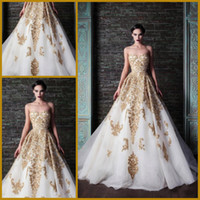 Wholesale 2014 Spring White Strapless Neckline Sleeveless Gold Applique Backless Sweep Train Tulle Covered Satin A line Garden Wedding Dress