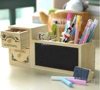 Wholesale Creative blackboard pen holder double drawer retro pattern Pencil