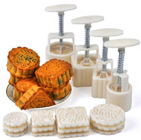 Wholesale Moon Cakes Mold Four Hand Pressure Moulds With Twelve Motifs Mooncake Molds Round amp Square Cookie Cutters Plunger Bring Tools A069