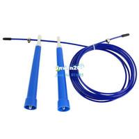 Wholesale Blue M Adjustable Durable Steel Wire Rope Skip Skipping Speed Jump Rope Crossfit TK1048