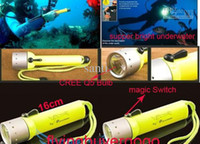 Wholesale 818 Flashlight For Diving Mode Lumen CREE Q5 LED underwater Torch With Yellow Black Red Blue