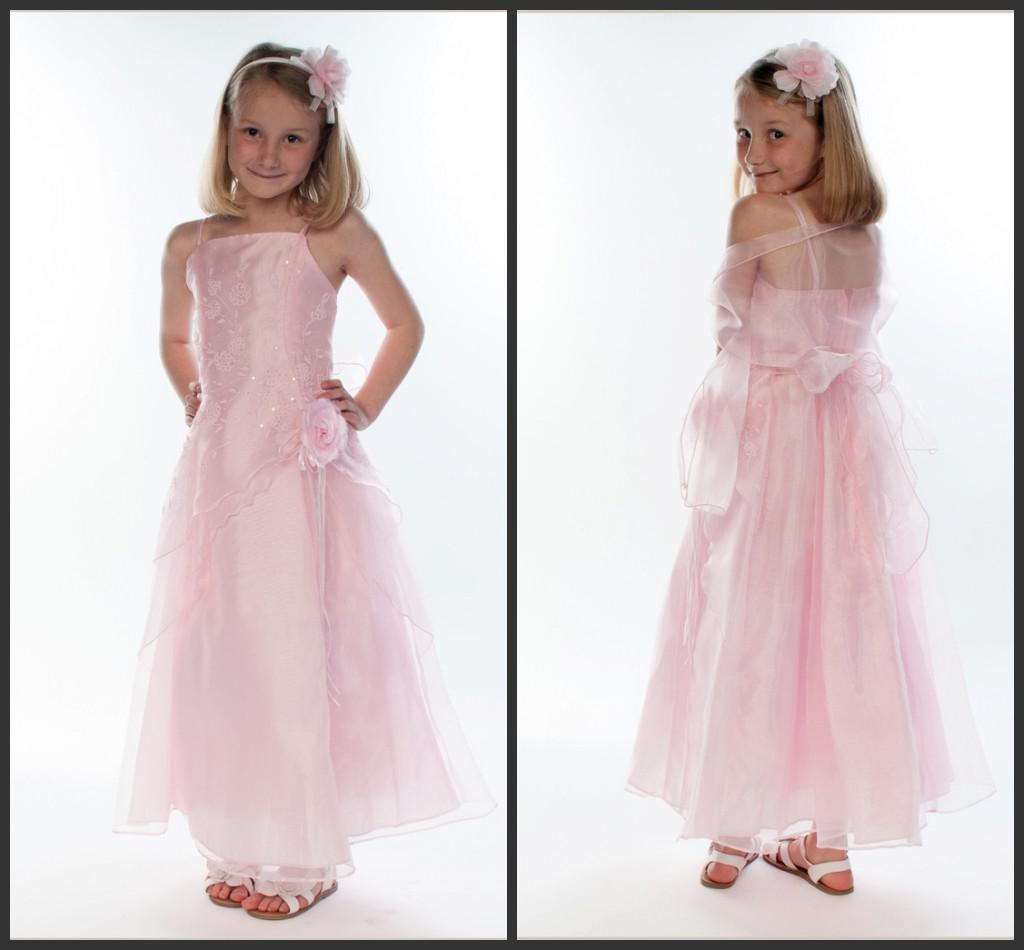 2014 Beautiful Pink Organza Long Length Junior Bridesmaid