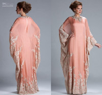Wholesale Peach Coral long sleeves Evening Dress kaftan dubai Dress Chiffon Lace Long Sleeves Lace fitted Muslim Evening Gowns JQ3309