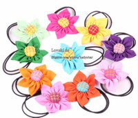 Wholesale Girls Multicolour Flower Hairbands Baby Hair Accessories Hair Flowers Hair Tie Childrens Accessories Rubber Band Hair Things Kids Headwear