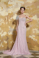 Model Pictures One-Shoulder Chiffon Top Full Beading Chiffon One Shoulder Backless Long Evening Formal Party Gowns