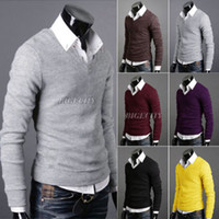 Wholesale Fashion Mens Solid Colors Knit Tops Jumper Knitwear Sweater Pullover AX194