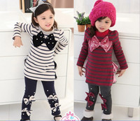 Spring / Autumn baby leggins - New Arrival Kids Clothes Set Long Sleeve Stripe Dress Leggins Pants Baby Girl Sets Children Suit Year Outfits Wear QZ479