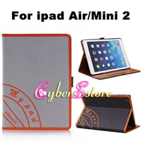 Wholesale For ipad mini Fashion Jeans Cloth Canvas Folio Leather Case With Stand Hand Holder for ipad air iPad Mini2 mini