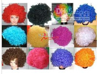 afro wigs - New Party Rainbow Afro Clown Child Adult Costume Football Fan Wig Hair Halloween Or Football Fan Fun