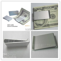 Wholesale Can print logo Mens Present Silver Stainless Steel Money Wallet Clip Card Gift Double Sided Money Clip Slim Clip Fashion