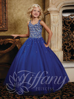 Model Pictures Girl Beads Girls Pageant Dresses lace-up back spaghetti full rhinestones beaded V neck floor length formal little flower girls ball gown wedding party