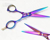 Wholesale Barber Hair scissors hair cutting scissors purple titanium inch hairdresser shear hair salon tools