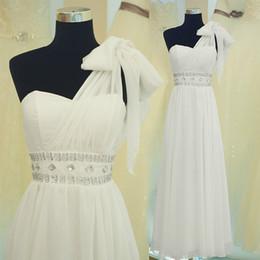 A-line Bridesmaid Evening Prom Dresses Empire One-shoulder Hand made flower Crystal Beaded Floor Length Chiffon Bridesmaid Dress