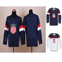 Ice Hockey Men Full Brand New 2014 Sochi Winter Olympics Team USA Blank three colors Mens Ice Hockey Jersey Embroidery and Sewing Logos Accept Mix Order