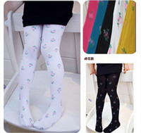 Wholesale Children Leggings Small broken flower jacquard weave velvet Girls Pantyhose Candy Color Kids stockings TS119