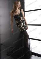 2014 Black Lace Appliques Tulle Mermaid Wedding Evening Dres...