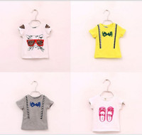 Girl Summer Standard Toddlers 0-5years boys girls summer cotton round necked tshirts baby girl boy fashion leopard bowknot camera shoes T-shirts children's tops