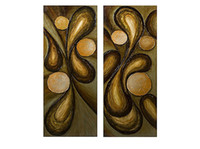 Wholesale 100 Abstract Golden Color Flowers Oil Painting Fine Canvas Art Two Panels Set Stretched Ready to Hang Buy Oil Paintings Online
