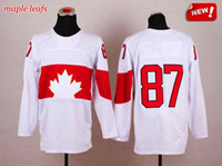 Wholesale 2014 Olympic Canada Jersey Crosby Team Canada Jerseys Best White Olympic Hockey Jerseys New Stitched Hockey Wears with Gold Leaf