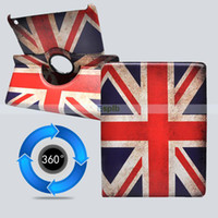 Wholesale UK USA National Flag For ipad Case Degree Rotating Leather Smart Cover Case Stand Sleep Wakeup for ipad