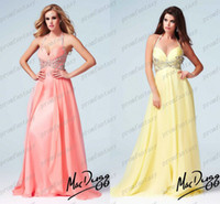 2014 Coral Yellow Chiffon Halter Wedding Evening Dresses Swe...