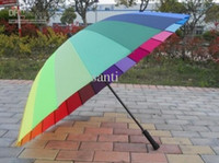 Wholesale Popular Hot Top Quality Long handle rainbow Straight umbrella rain umbrellas