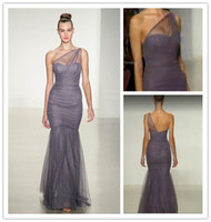 Wholesale 2014 New Silver Bridesmaid Dresses by Amsale One Shoulder Sheer Strap Satin Tulle Mermaid Bridesmaid Dress Floor Length Maid of Honor Dress