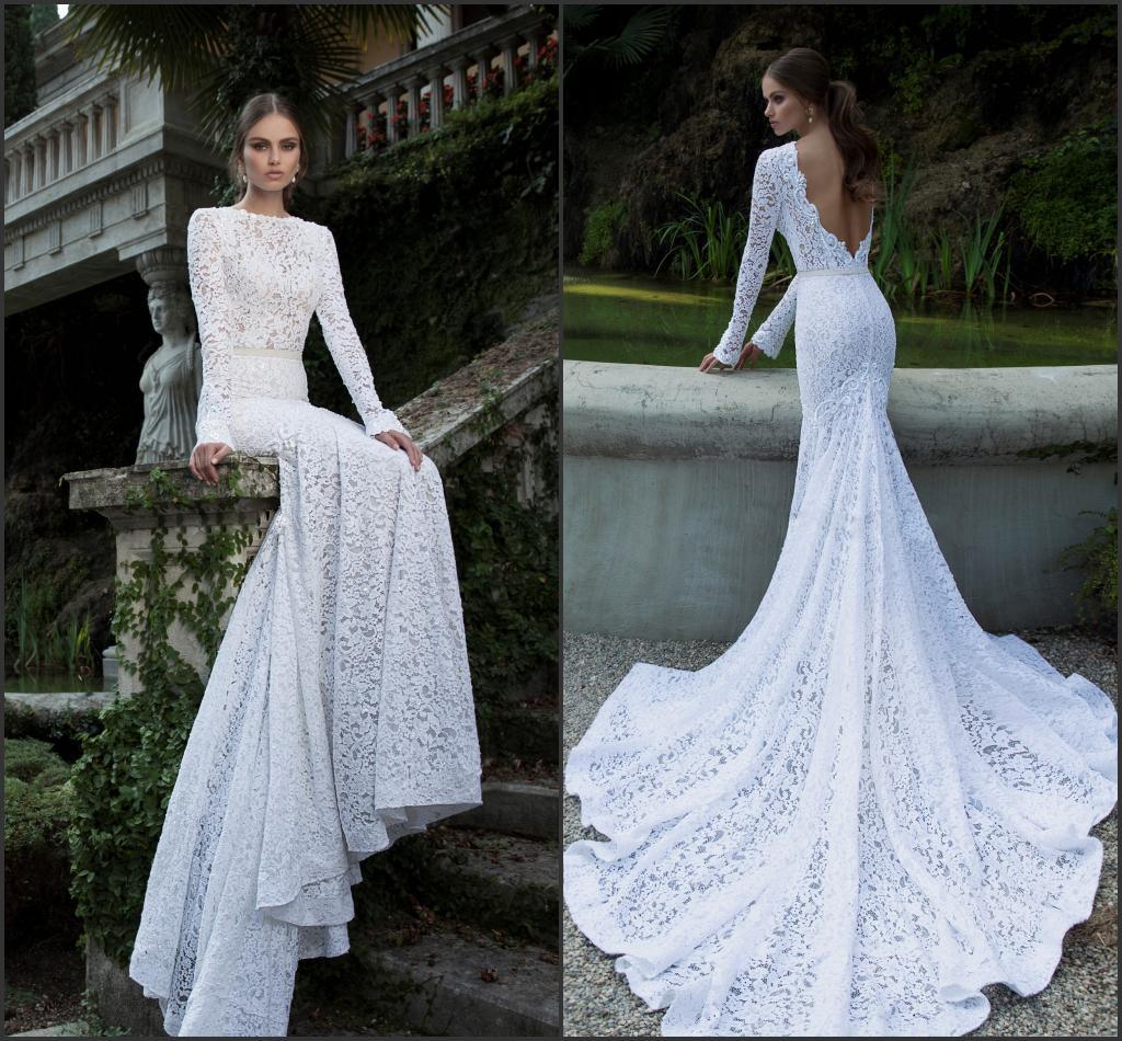 2014 Berta Full Lace Wedding Dresses Bateau Neckline Deep
