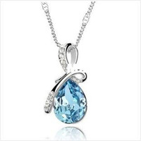 Pendant Necklaces Women's Fashion Wholesale New Fashion accessories crystal costume Jewelry High Quality rhinestone Color Crystal Angel's tears Necklace RJ1688