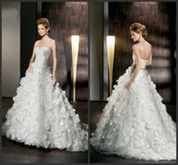 Empire Reference Images Sweetheart 2014 Empire Wedding Dresses Demetrios Sweetheart Pleats Beads Handmade Flower Chapel Train Ball Gown Bridal Dress Backless Tulle