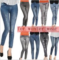 Wholesale thickened for winter wearing women leggings women s girl velvet thickened inside Jeggings Skinny Distressed pocket faux Denim Jeans Legging