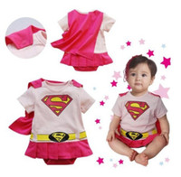 Wholesale Supergirl Baby Rompers Retail Baby Girls Dress Romepr Supergirl Costumes cloak Toddler Baby bodysuit HJ