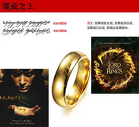 Wholesale unisex rings The Lord of the Rings K gold plated ring with bead chain L Stainless Steel men women jewelry lovers rings