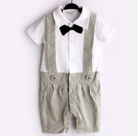 Boy Summer 100% Cotton Grey Tuxedo Baby Rompers Brace Gentleman bodysuit Overalls Bowties 1PCS Sample Selling COTTON Top Quality HJ