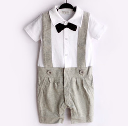 Grey Tuxedo Baby Rompers Brace Gentleman bodysuit Overalls Bowties 1PCS Sample Selling COTTON Top Quality HJ