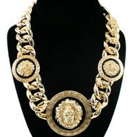 Wholesale Rihanna Celebrity Jewelry Women Gold Black Three Lion Head Chunky Chain Link Necklace