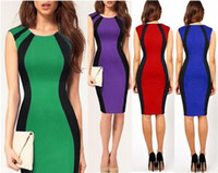 Casual Dresses Round Knee Length 2014 Fashion Sleeves Pencil Dress Women Striped Bodycon Dress Green Red 4 Colors Ladies Clothing Cheap Items 2014 Hot Sale